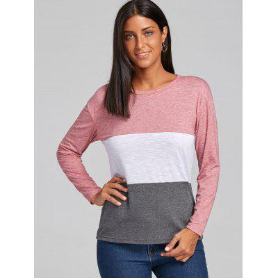 Striped Color Block BlouseBlouses<br>Striped Color Block Blouse<br><br>Collar: Round Neck<br>Material: Polyester, Spandex<br>Package Contents: 1 x Blouse<br>Pattern Type: Striped<br>Season: Fall, Spring<br>Shirt Length: Regular<br>Sleeve Length: Full<br>Style: Casual<br>Weight: 0.2550kg