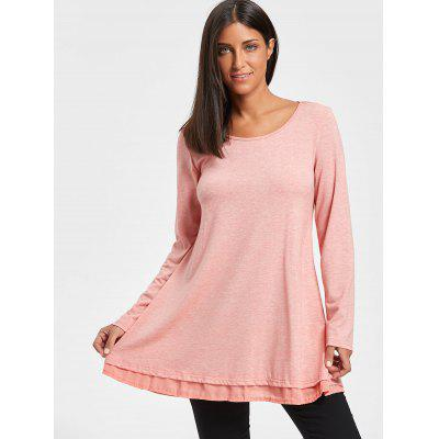 Chiffon Trimmed Scoop Neck Tunic TopBlouses<br>Chiffon Trimmed Scoop Neck Tunic Top<br><br>Collar: Scoop Neck<br>Material: Polyester, Spandex<br>Package Contents: 1 x Top<br>Pattern Type: Solid Color<br>Season: Fall, Spring<br>Shirt Length: Long<br>Sleeve Length: Full<br>Style: Casual<br>Weight: 0.3500kg