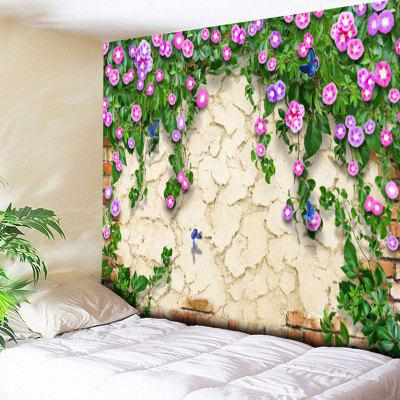 Floral Print Mottled Wall Hanging Tapestry