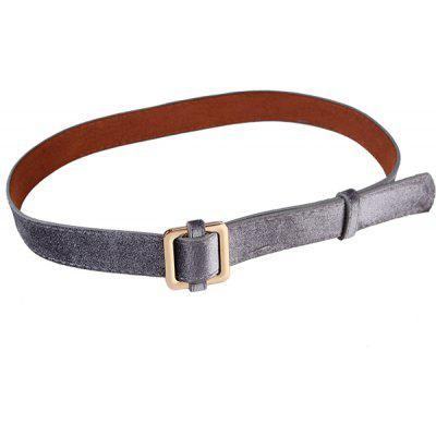 Metal Square Buckle Decorated Skinny Belt