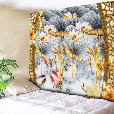 Lotus Print Wall Hanging Decorative Tapestry