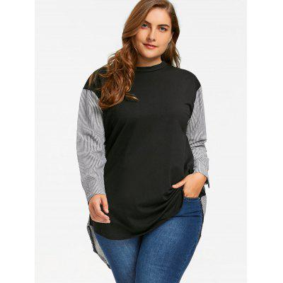 Plus Size Pinstripe Dip Hem SweatshirtPlus Size Tops<br>Plus Size Pinstripe Dip Hem Sweatshirt<br><br>Material: Polyester, Spandex<br>Package Contents: 1 x Sweatshirt<br>Pattern Style: Striped<br>Season: Fall, Spring<br>Shirt Length: Long<br>Sleeve Length: Full<br>Style: Casual<br>Weight: 0.2600kg