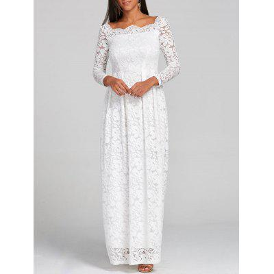 Buy WHITE XL Lace Formal Floor Length Dress for $34.79 in GearBest store