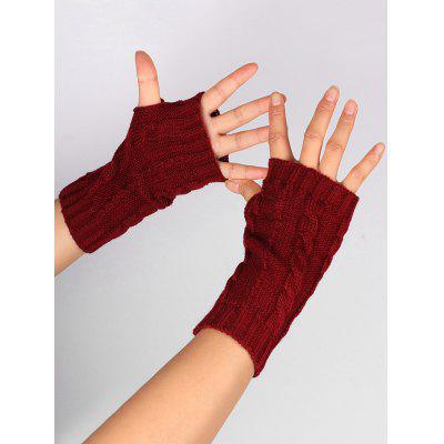 Hollow Out Embellished Knitted Exposed Finger Gloves