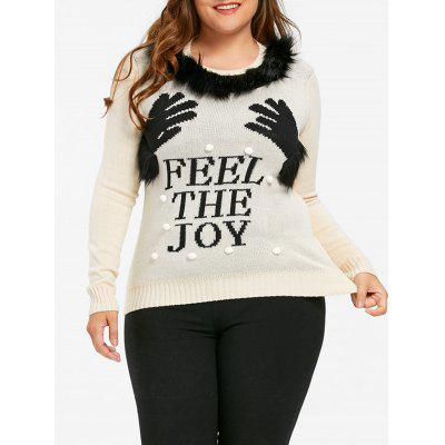 Christmas Feel the Joy Plus Size Hands Sweater