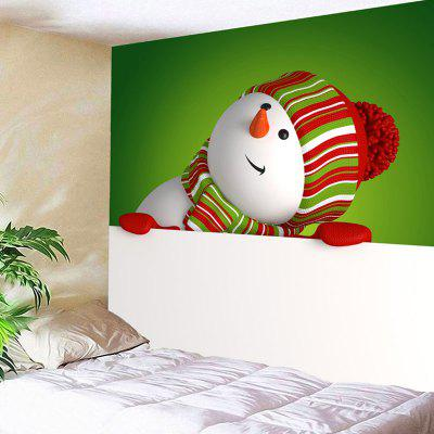 Buy WHITE AND GREEN Wall Art Snowman Pattern Christmas Tapestry for $11.19 in GearBest store