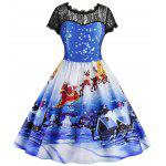 Gearbest Christmas Printed Lace Panel Vintage Dress
