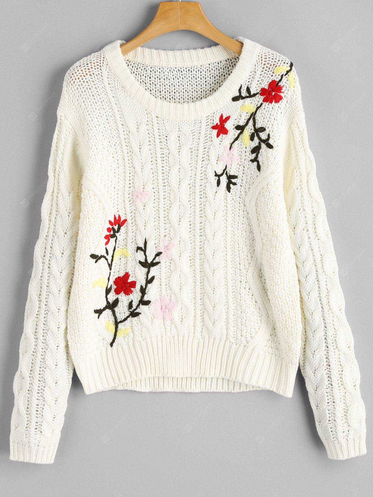 WHITE Chunky Jacquard Cable Knit Sweater
