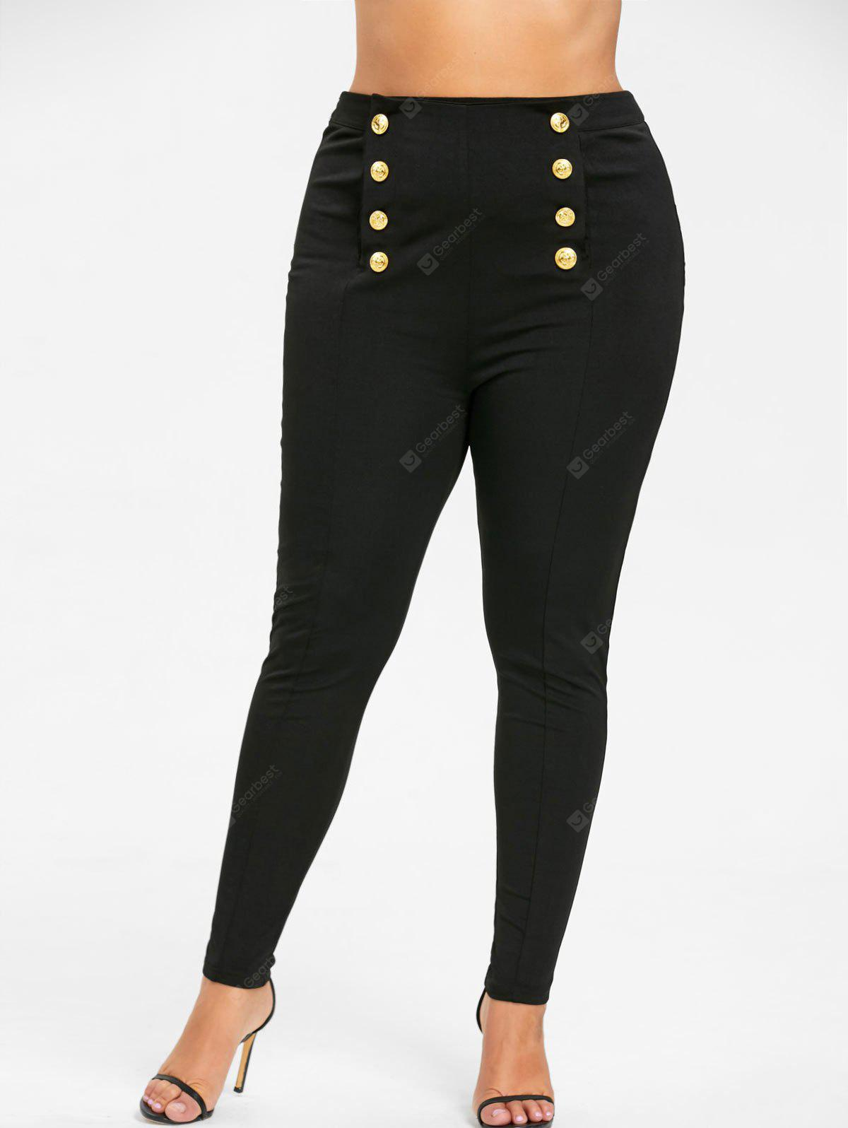 BLACK 2XL Plus Size Double Breasted Skinny Pants