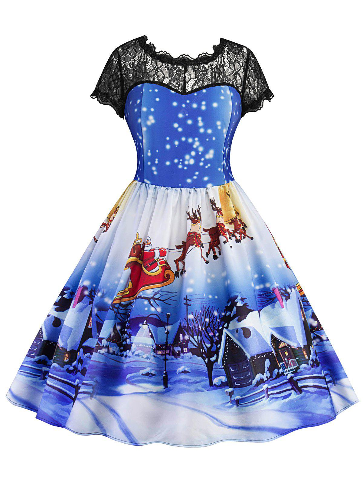 BLUE XL Christmas Printed Lace Panel Vintage Dress