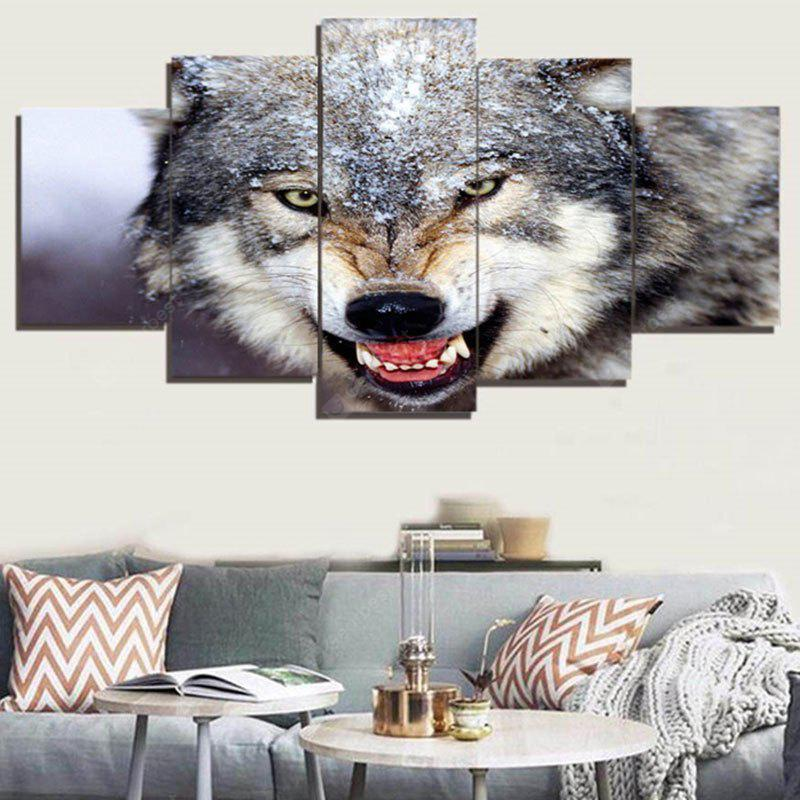 3D Wolf Printed Unframed Canvas Paintings