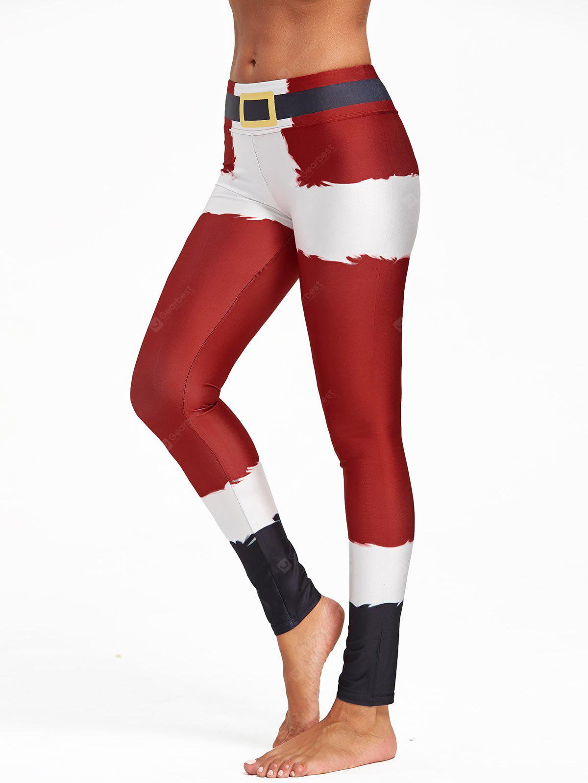 Christmas Belt Print Color Block Leggings