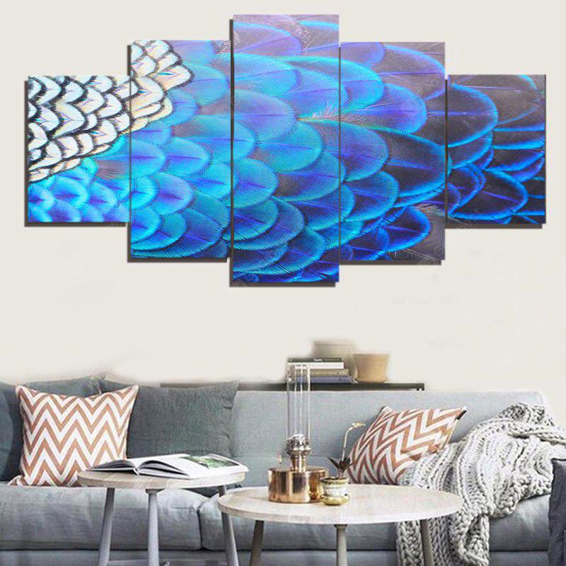 Feather Print Unframed Split Canvas Paintings