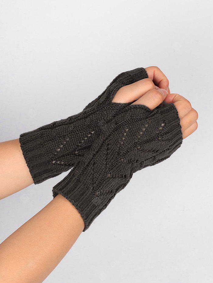 Outdoor Letter V Shape Hollow Out Fingerless Knitted Gloves