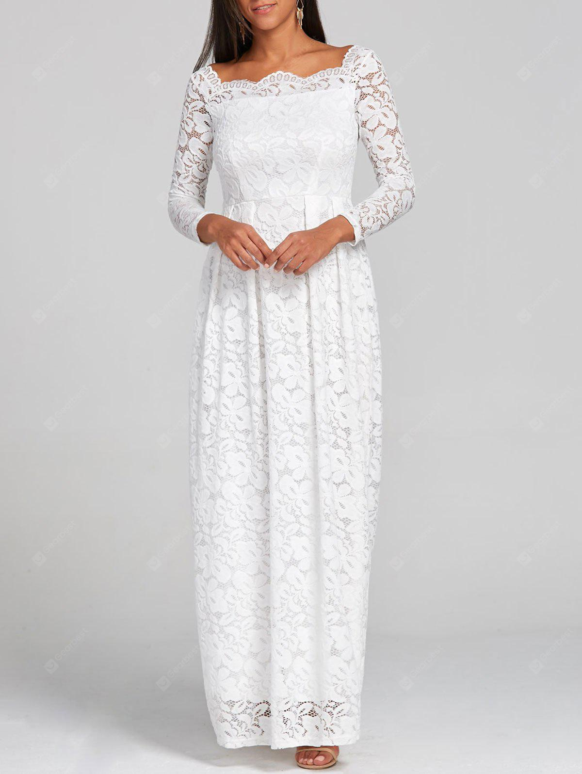 WHITE 2XL Lace Formal Floor Length Dress