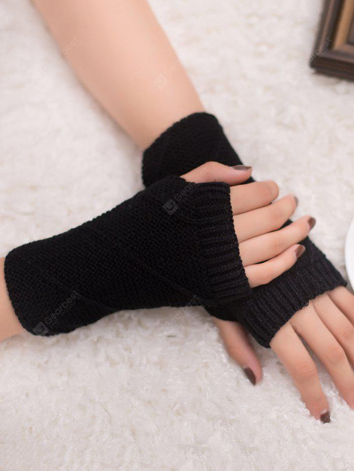 Outdoor Striped Pattern Exposed Finger Knitted Gloves