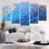 Feather Print Unframed Split Canvas Paintings - BLUE