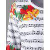 Christmas Music Score and Bell Print Sweatshirt - COLORMIX