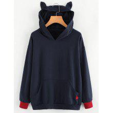 Cat Heart Embroidered Contrasting Hoodie
