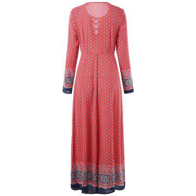 Bohemian Print Lace Up Maxi DressWomens Dresses<br>Bohemian Print Lace Up Maxi Dress<br><br>Dresses Length: Ankle-Length<br>Embellishment: Lace up<br>Material: Polyester, Spandex<br>Neckline: Round Collar<br>Package Contents: 1 x Dress<br>Pattern Type: Print<br>Season: Fall, Spring<br>Silhouette: A-Line<br>Sleeve Length: Long Sleeves<br>Style: Bohemian<br>Weight: 0.3140kg<br>With Belt: No