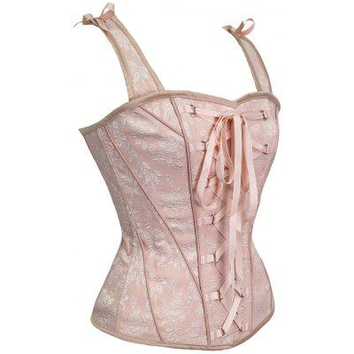 Lace Up Steel Boned Corset VestLingerie &amp; Shapewear<br>Lace Up Steel Boned Corset Vest<br><br>Embellishment: Flowers<br>Material: Nylon, Polyester<br>Package Contents: 1 x Corset<br>Pattern Type: Solid<br>Weight: 0.4000kg