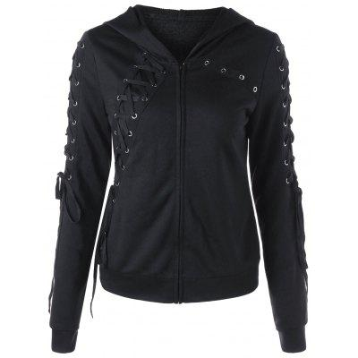 Zip Up Lace Up HoodieSweatshirts &amp; Hoodies<br>Zip Up Lace Up Hoodie<br><br>Material: Polyester<br>Package Contents: 1 x Hoodie<br>Pattern Style: Solid<br>Season: Fall, Spring<br>Shirt Length: Regular<br>Sleeve Length: Full<br>Style: Casual<br>Weight: 0.4800kg