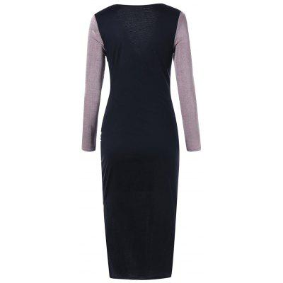 Long Sleeve Plunging Neckline Bodycon Midi DressBodycon Dresses<br>Long Sleeve Plunging Neckline Bodycon Midi Dress<br><br>Dresses Length: Mid-Calf<br>Elasticity: Micro-elastic<br>Embellishment: Ruched,Slit<br>Material: Polyester, Spandex<br>Neckline: Plunging Neck<br>Package Contents: 1 x Dress<br>Pattern Type: Others<br>Season: Fall, Winter, Spring<br>Silhouette: Bodycon<br>Sleeve Length: Long Sleeves<br>Style: Brief<br>Waist: Empire<br>Weight: 0.3600kg<br>With Belt: No