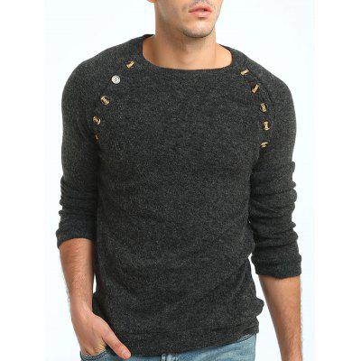 Button Embellished Raglan Sleeve SweaterMens Sweaters &amp; Cardigans<br>Button Embellished Raglan Sleeve Sweater<br><br>Collar: Crew Neck<br>Embellishment: Button<br>Material: Cotton, Polyester<br>Package Contents: 1 x Sweater<br>Pattern Type: Solid<br>Season: Fall, Spring, Winter<br>Sleeve Length: Full<br>Style: Active<br>Weight: 0.3800kg