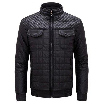 Grid Check Zip Front Faux Leather Jacket