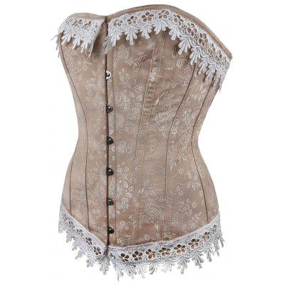 Lace Up Jacquard Strapless Waist Training CorsetLingerie &amp; Shapewear<br>Lace Up Jacquard Strapless Waist Training Corset<br><br>Embellishment: Criss-Cross<br>Material: Polyester<br>Package Contents: 1 x Corset<br>Pattern Type: Patchwork<br>Weight: 0.4000kg