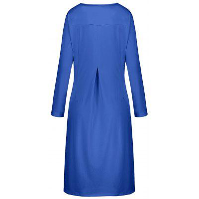 Plus Size Button Embellish Long Sleeve Smock DressPlus Size Dresses<br>Plus Size Button Embellish Long Sleeve Smock Dress<br><br>Dresses Length: Mid-Calf<br>Embellishment: Button<br>Material: Polyester<br>Neckline: Scoop Neck<br>Package Contents: 1 x Dress<br>Pattern Type: Solid Color<br>Season: Fall<br>Silhouette: Straight<br>Sleeve Length: Long Sleeves<br>Style: Brief<br>Weight: 0.4800kg<br>With Belt: No
