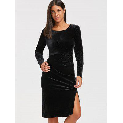 Front Knot High Slit Velvet Midi DressBodycon Dresses<br>Front Knot High Slit Velvet Midi Dress<br><br>Dresses Length: Mid-Calf<br>Material: Polyester<br>Neckline: Round Collar<br>Package Contents: 1 x Dress<br>Pattern Type: Solid Color<br>Season: Fall, Spring<br>Silhouette: Bodycon<br>Sleeve Length: Long Sleeves<br>Style: Brief<br>Weight: 0.4500kg<br>With Belt: No