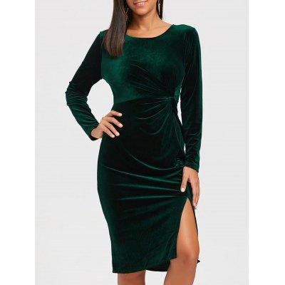 Buy BLACKISH GREEN XL Front Knot High Slit Velvet Midi Dress for $30.53 in GearBest store