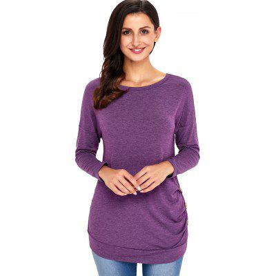 Button Embellished Long Sleeve Tunic TopBlouses<br>Button Embellished Long Sleeve Tunic Top<br><br>Collar: Scoop Neck<br>Embellishment: Button<br>Material: Polyester, Spandex<br>Package Contents: 1 x Top<br>Pattern Type: Solid Color<br>Season: Fall, Spring<br>Shirt Length: Regular<br>Sleeve Length: Full<br>Style: Casual<br>Weight: 0.4500kg