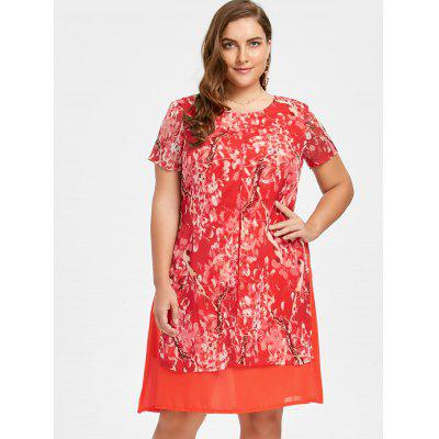 Plus Size Floral Chiffon Layering DressPlus Size Dresses<br>Plus Size Floral Chiffon Layering Dress<br><br>Dresses Length: Knee-Length<br>Embellishment: Ruffles<br>Material: Polyester<br>Neckline: Scoop Neck<br>Package Contents: 1 x Dress<br>Pattern Type: Floral<br>Season: Fall<br>Silhouette: A-Line<br>Sleeve Length: Short Sleeves<br>Style: Casual<br>Weight: 0.3200kg<br>With Belt: No
