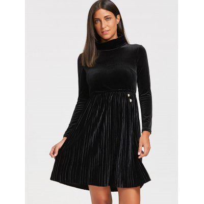 Turtleneck Long Sleeve Velvet Mini Pleated DressWomens Dresses<br>Turtleneck Long Sleeve Velvet Mini Pleated Dress<br><br>Dresses Length: Mini<br>Material: Polyester, Velvet<br>Neckline: Turtleneck<br>Package Contents: 1 x Dress<br>Pattern Type: Solid<br>Season: Spring, Fall<br>Silhouette: A-Line<br>Sleeve Length: Long Sleeves<br>Style: Brief<br>Weight: 0.5200kg<br>With Belt: No