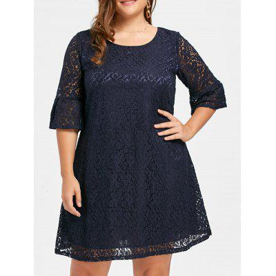 Plus Size Flare Sleeve Lace A Line Dress