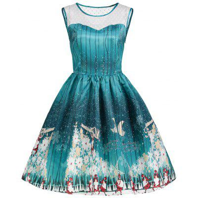Buy GREEN S Christmas Print Mesh Insert Vintage Dress for $28.16 in GearBest store