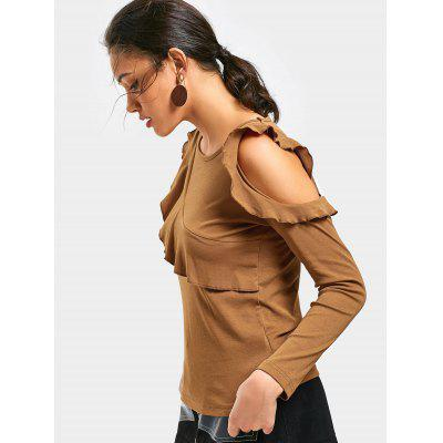 Cold Shoulder Ruffle Trim TeeTees<br>Cold Shoulder Ruffle Trim Tee<br><br>Collar: Round Neck<br>Embellishment: Ruffles<br>Material: Polyester<br>Package Contents: 1 x Tee<br>Pattern Type: Solid Color<br>Sleeve Length: Full<br>Style: Casual<br>Weight: 0.2950kg