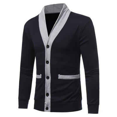 Shawl Collar Color Block Panel Button Up CardiganMens Sweaters &amp; Cardigans<br>Shawl Collar Color Block Panel Button Up Cardigan<br><br>Collar: Shawl Collar<br>Material: Cotton, Polyester<br>Package Contents: 1 x Cardigan<br>Sleeve Length: Full<br>Style: Fashion<br>Type: Cardigans<br>Weight: 0.3500kg