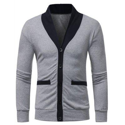 Shawl Collar Color Block Panel Button Up Cardigan