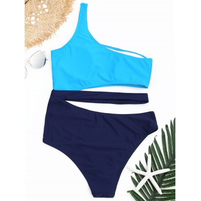 One Shoulder Two Tone One Piece Swimsuit one two boo