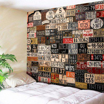 Wall Hanging License Plate Number Print Tapestry