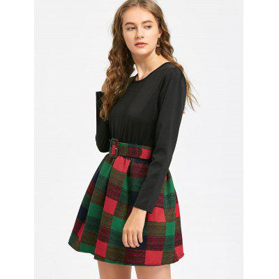 Long Sleeve Belted Checked Dress