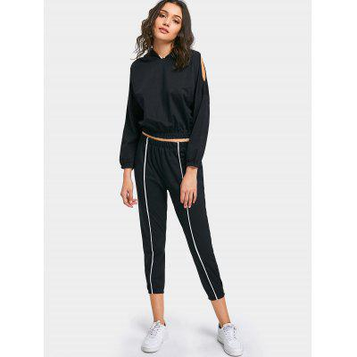 Cold Shoulder Contrasting Hoodie and Jogger Cut Out PantsWomens Clothing<br>Cold Shoulder Contrasting Hoodie and Jogger Cut Out Pants<br><br>Closure Type: Elastic Waist<br>Fit Type: Regular<br>Front Style: Flat<br>Material: Cotton, Polyester<br>Neckline: Hooded<br>Occasion: Casual, Going Out<br>Package Contents: 1 x Hoodie  1 x Pants<br>Pattern Type: Others<br>Waist Type: High<br>Weight: 0.6150kg<br>With Belt: No