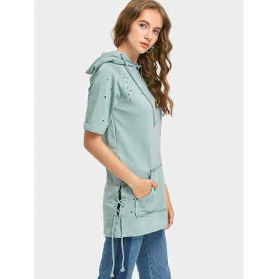 Lace Up Ripped Short Sleeve HoodieSweatshirts &amp; Hoodies<br>Lace Up Ripped Short Sleeve Hoodie<br><br>Clothing Style: Hoodie<br>Material: Cotton, Polyester<br>Package Contents: 1 x Hoodie<br>Pattern Style: Solid<br>Shirt Length: Long<br>Sleeve Length: Short<br>Weight: 0.4900kg