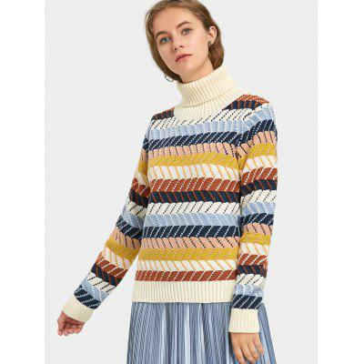 Zig Zag Stripes Turtleneck SweaterSweaters &amp; Cardigans<br>Zig Zag Stripes Turtleneck Sweater<br><br>Collar: Turtleneck<br>Material: Acrylic, Cotton, Polyester<br>Package Contents: 1 x Sweater<br>Pattern Type: Striped<br>Sleeve Length: Full<br>Style: Fashion<br>Type: Pullovers<br>Weight: 0.5700kg