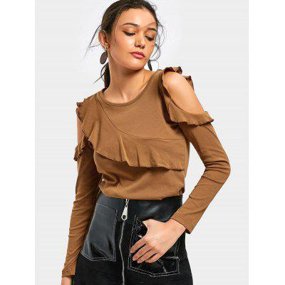 Buy BROWN M Cold Shoulder Ruffle Trim Tee for $21.16 in GearBest store