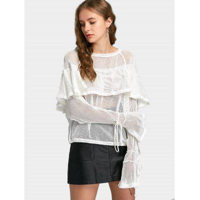 Flounces Mesh Flare Sleeve BlouseBlouses<br>Flounces Mesh Flare Sleeve Blouse<br><br>Collar: Round Neck<br>Embellishment: Ruffles<br>Material: Cotton, Polyester<br>Occasion: Casual<br>Package Contents: 1 x Blouse<br>Pattern Type: Solid<br>Seasons: Autumn,Spring<br>Shirt Length: Regular<br>Sleeve Length: Full<br>Style: Fashion<br>Weight: 0.4050kg