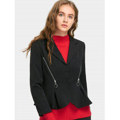 Snap Button Zippped Skirted BlazerBlazers<br>Snap Button Zippped Skirted Blazer<br><br>Collar: Lapel<br>Material: Cotton, Polyester<br>Package Contents: 1 x Blazer<br>Pattern Type: Solid<br>Shirt Length: Short<br>Sleeve Length: Full<br>Weight: 0.5100kg